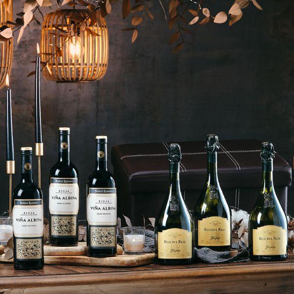Estuche-Regalo-navidad-6-botellas-CAVA-Freixenet-vino-TINTO-Rioja-115R