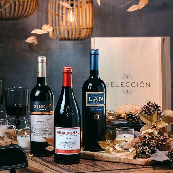 comprar-Estuche-Regalo-navidad-con-CAJA-MADERA-vinos-TINTOS-RIOJA-106R