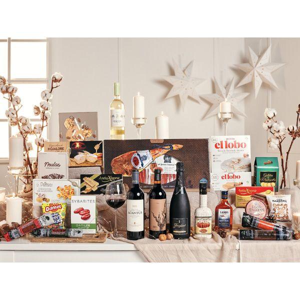 Comprar-lotes-de-navidad-Gourmet-con-vino-embutidos-ibericos