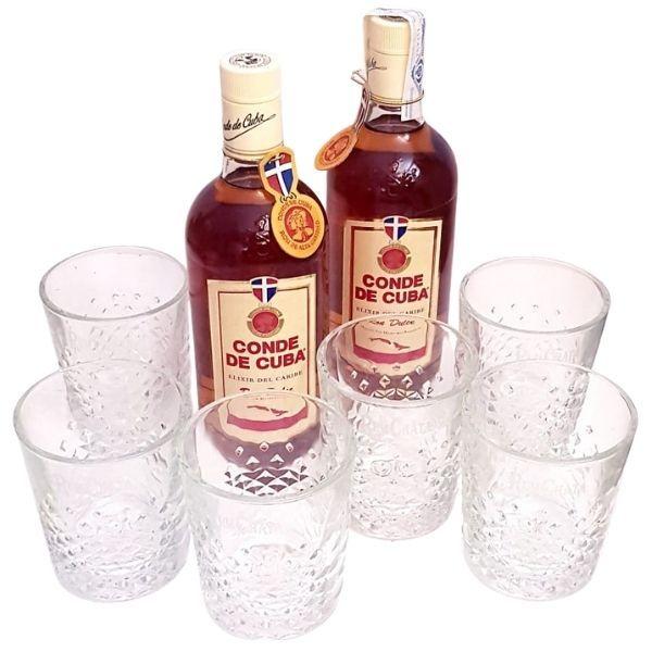Promoción 2 Botellas de RON Conde de cuba elixir y 6 vasos rumchata