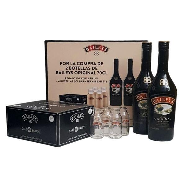 Promoción Licor de Crema Bailey's Original 2 Botellas, 4 Botellas rellenables y 150 azucarillos